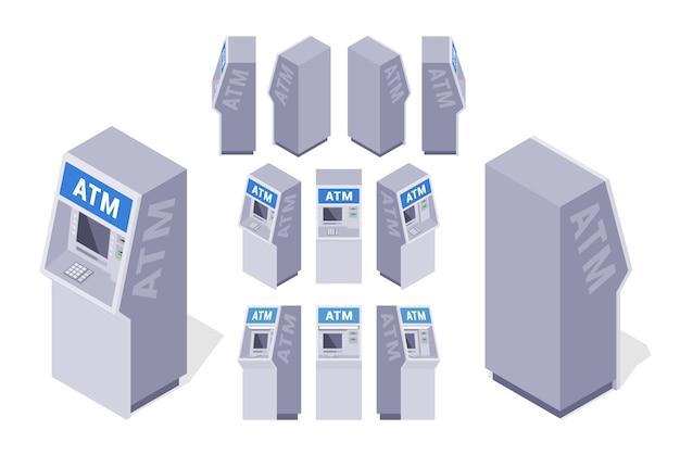 Ensemble de guichets automatiques isométriques Vecteur Premium