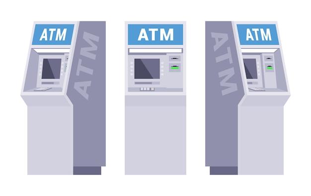 Ensemble des guichets automatiques Vecteur Premium