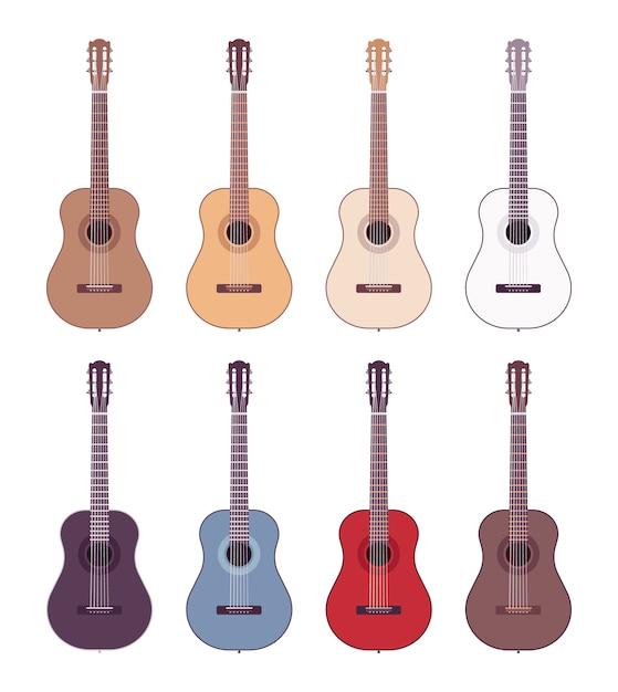 Ensemble de guitares acoustiques colorées Vecteur Premium