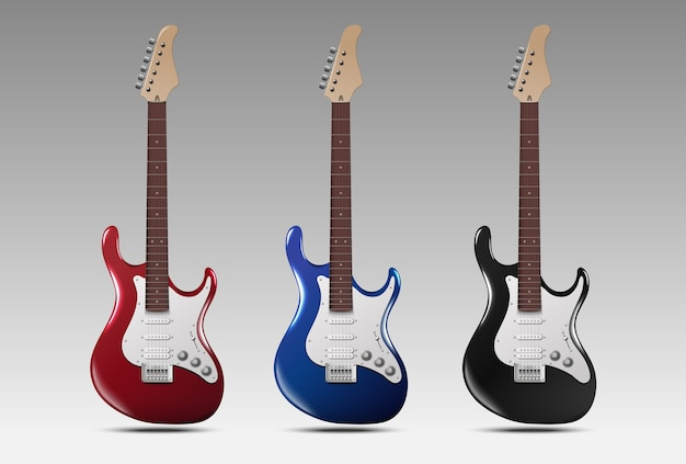 Ensemble De Guitares électriques Réalistes. Vecteur Premium