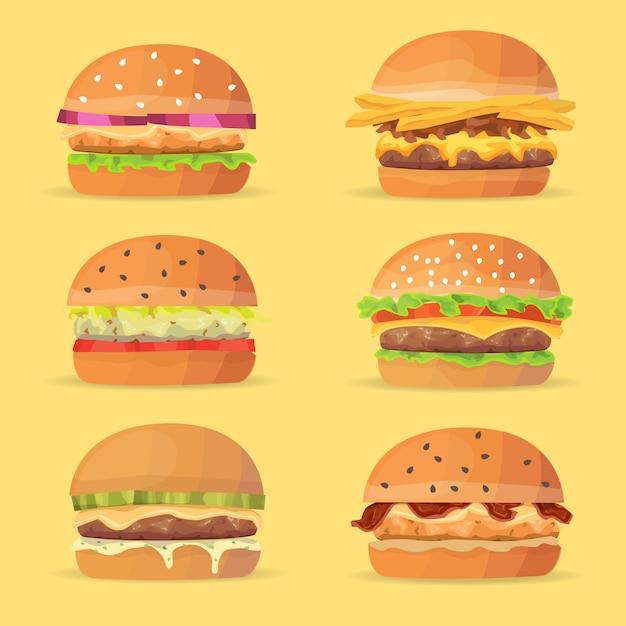 Ensemble De Hamburgers. Illustration De Dessin Animé Vecteur Eps 10 Vecteur Premium