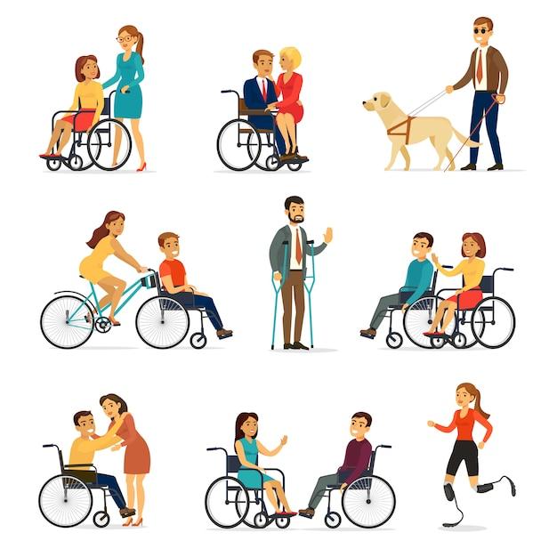 Ensemble Handicapé Et Handicapé Vecteur gratuit