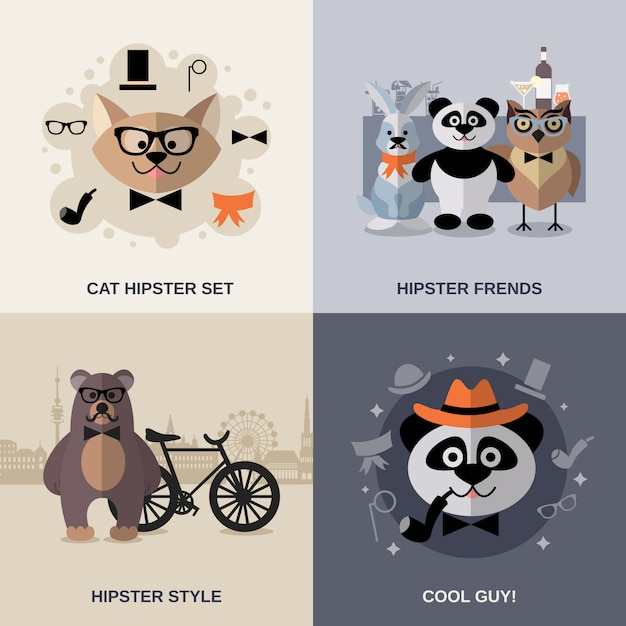 Ensemble de hipster animal Vecteur gratuit