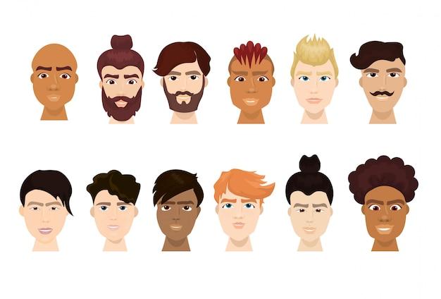 Ensemble de hipster homme fait face à la barbe et aux coiffures élégantes collection d'icônes isolé Vecteur Premium