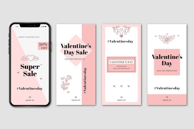 Ensemble d'histoire de la vente de la saint-valentin sur instagram Vecteur gratuit