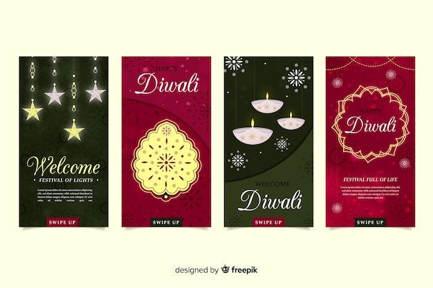 Ensemble d'histoires de diwali instagram Vecteur gratuit