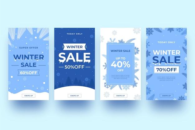Ensemble d'histoires instagram avec soldes d'hiver Vecteur gratuit