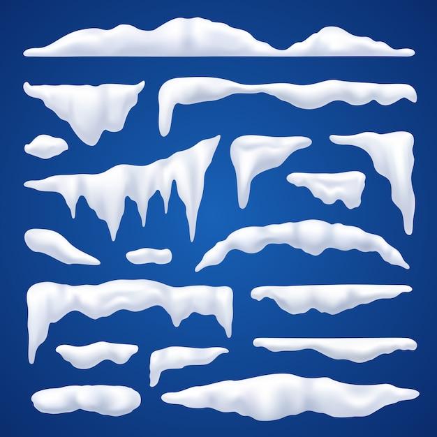 Ensemble d'hiver de capes de neige et de pieux Vecteur gratuit