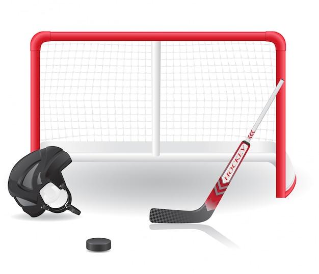 Ensemble de hockey. Vecteur Premium