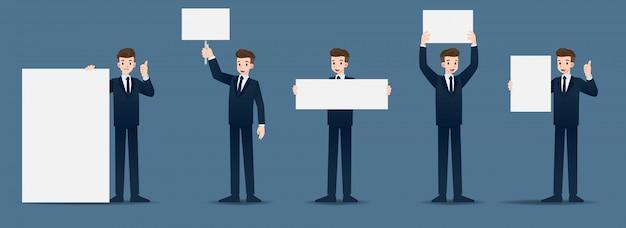 Ensemble d'homme d'affaires dans 5 gestes différents. Vecteur Premium