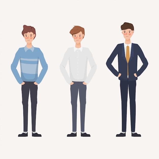 Ensemble d'homme d'affaires dans des vêtements différents. création de personnage dessiné à la main. Vecteur Premium