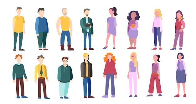Ensemble D'homme Et Femme De Race Et D'âge Différents. Caractère Adulte Vecteur Premium