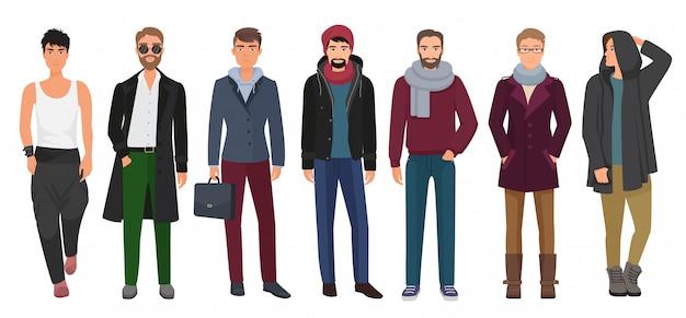 Ensemble d'hommes beaux et élégants. personnages masculins de bande dessinée dans les vêtements à la mode. illustration vectorielle Vecteur Premium