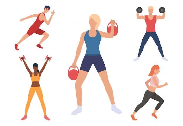 Ensemble d'hommes et de femmes exerçant dans une salle de sport Vecteur gratuit