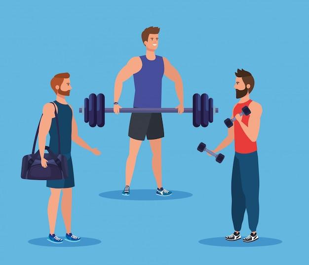 Ensemble D'hommes De Fitness Avec Sac Et Poids Avec Haltères Vecteur Premium