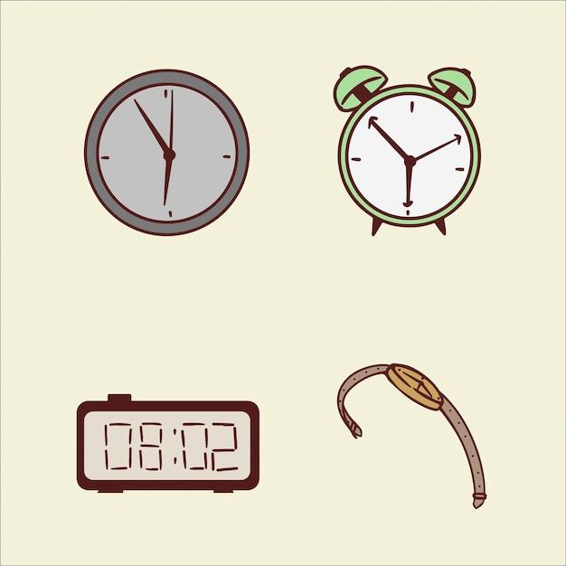 Ensemble D'horloges Dessin Illustration à La Main Vecteur Premium