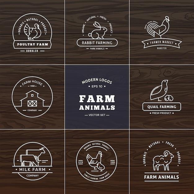 Ensemble de huit logos de style linéaire moderne avec des animaux de la ferme avec un espace pour le texte ou le nom de l'entreprise Vecteur Premium