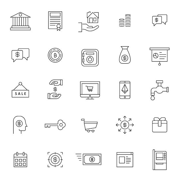 Ensemble d'icône financière entreprise Vecteur Premium