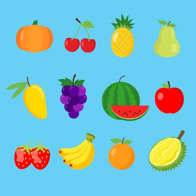 Ensemble d'icône de fruits mignons Vecteur Premium