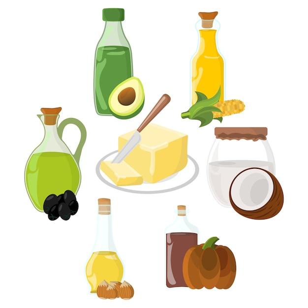 Ensemble d'icône huile, graisse, beurre. Vecteur Premium