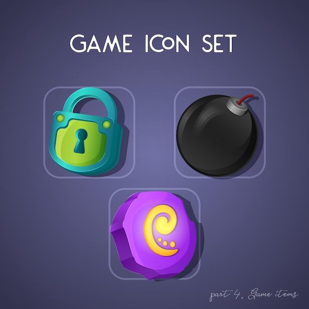 Ensemble d'icône de jeu en style cartoon. objets: serrure, bombe et pierre runique. design lumineux pour l'interface utilisateur de l'application. Vecteur Premium