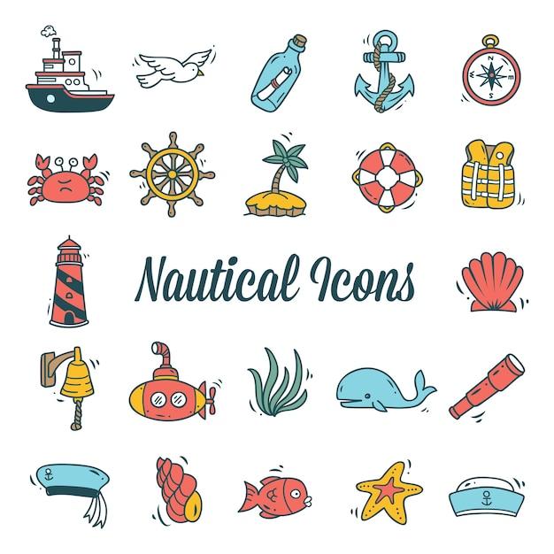 Ensemble d'icône nautique isolé sur fond blanc Vecteur Premium