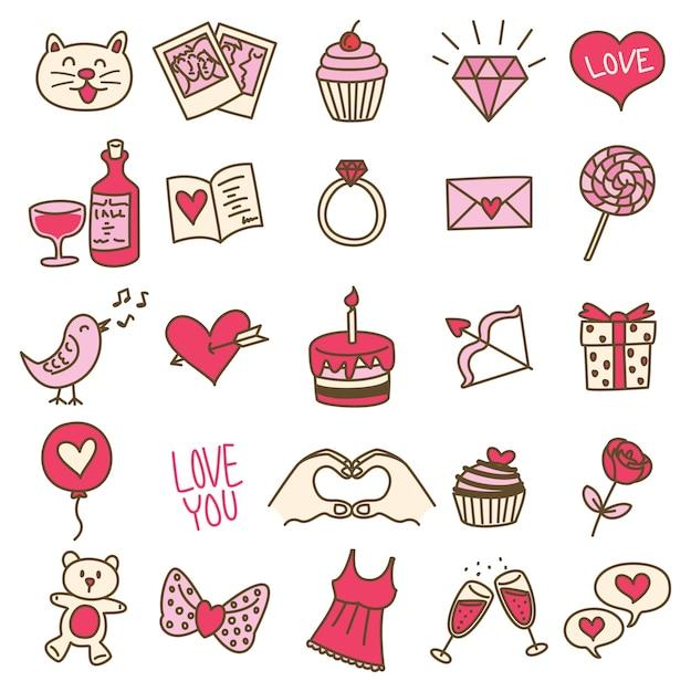 Ensemble d'icône de la saint-valentin simple dans un style doodle Vecteur Premium