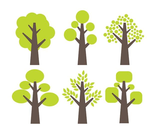 Ensemble d'icône simple arbre Vecteur Premium