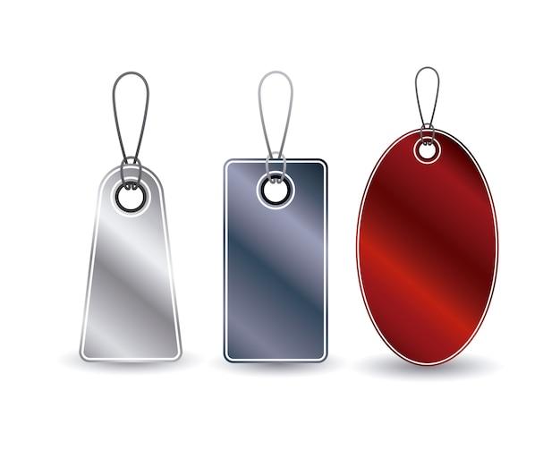 Ensemble d'icône de tags suspendus. rabais sur l'offre de prix et conception du marché. design isolé et coloré. vect Vecteur Premium