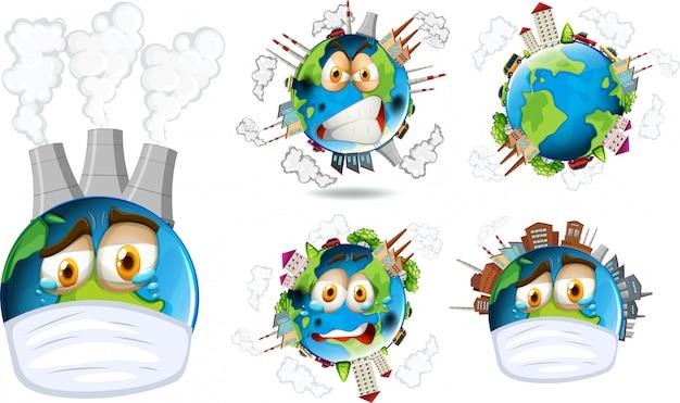 Ensemble d'icône de la terre Vecteur gratuit