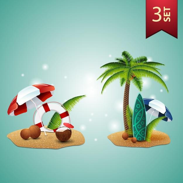 Ensemble d'icônes 3d d'été volumétrique pour vos arts Vecteur Premium