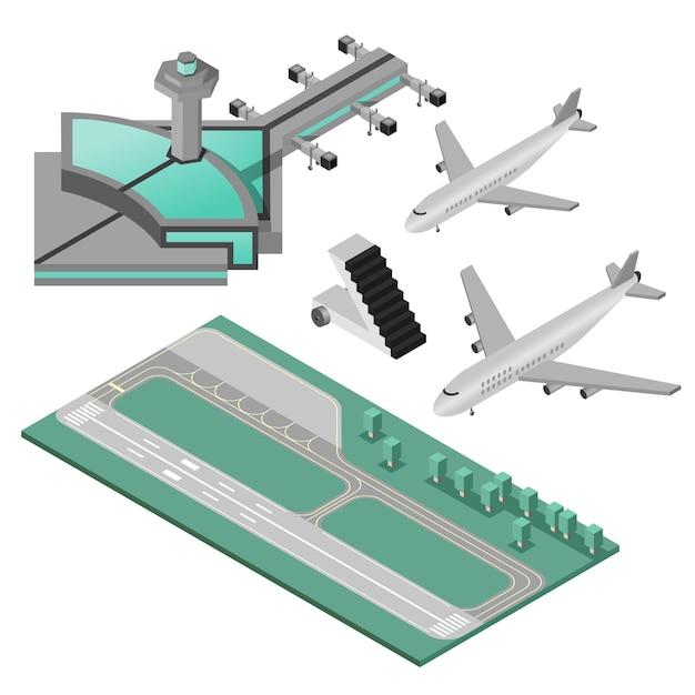 Ensemble d'icônes de l'aéroport Vecteur gratuit