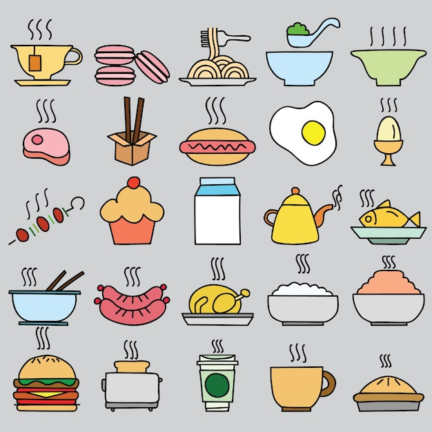 Ensemble d'icônes alimentaires colorées. illustration vectorielle Vecteur gratuit