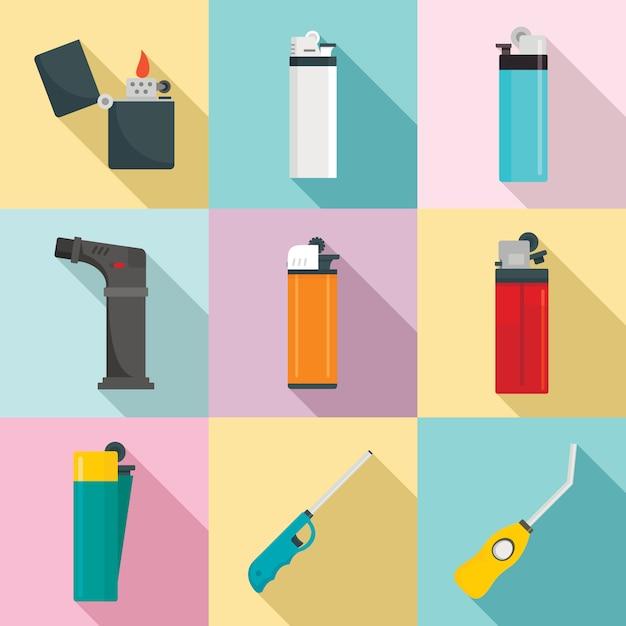 Ensemble D'icônes Allume-cigare, Style Plat Vecteur Premium