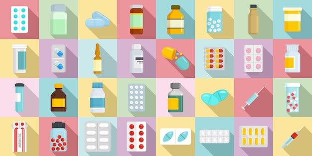 Ensemble d'icônes antibiotiques Vecteur Premium