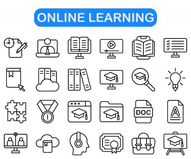 Ensemble D'icônes D'apprentissage En Ligne Vecteur Premium