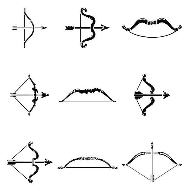 Ensemble d'icônes arc flèche arme Vecteur Premium