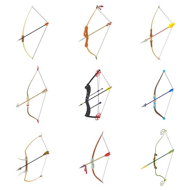 Ensemble d'icônes arc flèche flèche. illustration isométrique de 9 icônes vectorielles d'arme de flèche d'arc pour le web Vecteur Premium