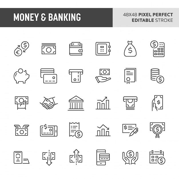 Ensemble D'icônes D'argent Et De Services Bancaires Vecteur Premium