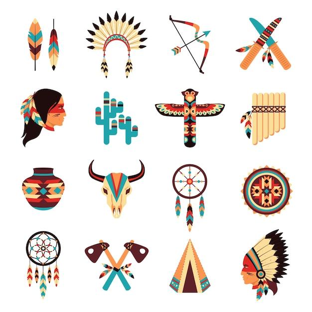 Ensemble d'icônes autochtones américains ethniques Vecteur gratuit