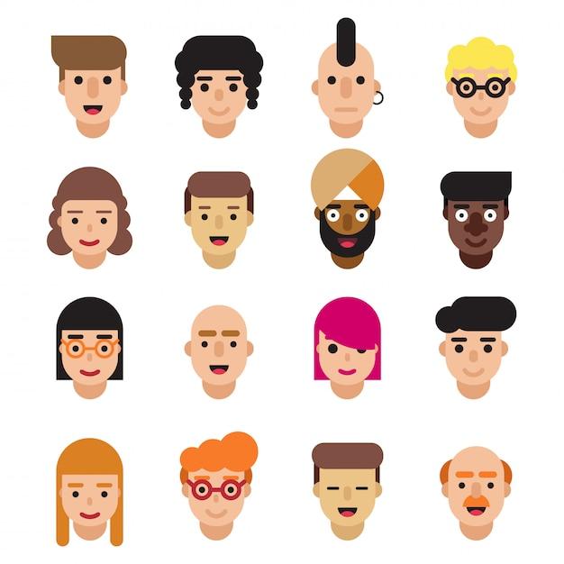 Ensemble d'icônes d'avatars plats Vecteur Premium