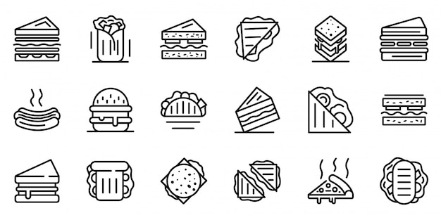 Ensemble D'icônes De Barre De Sandwich Vecteur Premium