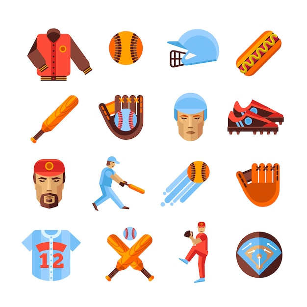 Ensemble d'icônes de baseball Vecteur gratuit