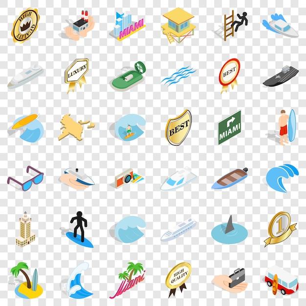 Ensemble d'icônes de bateau de mer. style isométrique des 36 icônes de bateau de mer Vecteur Premium