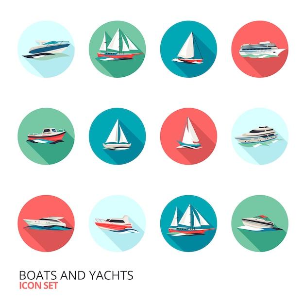 Ensemble d'icônes de bateaux Vecteur gratuit