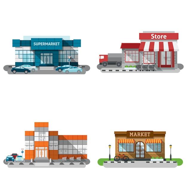 Ensemble d'icônes de bâtiments de magasin Vecteur gratuit