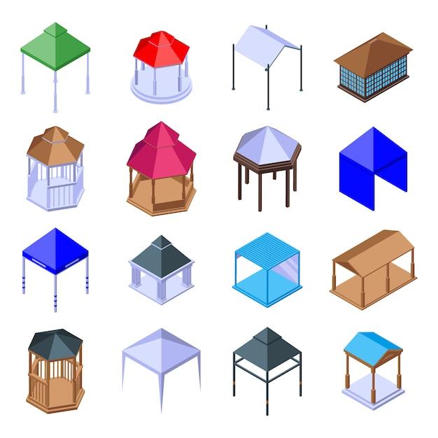 Ensemble D'icônes De Belvédère, Style Isométrique Vecteur Premium