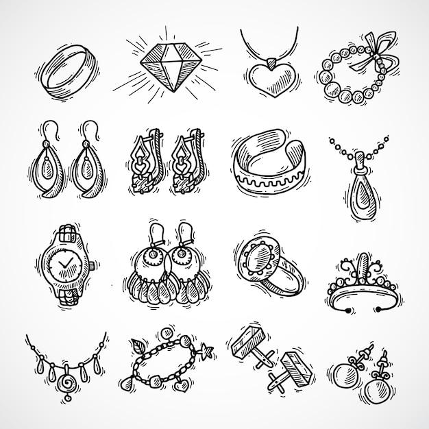 Ensemble d'icônes de bijoux Vecteur gratuit