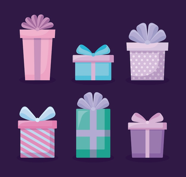 Ensemble d'icônes de boîtes-cadeaux Vecteur Premium