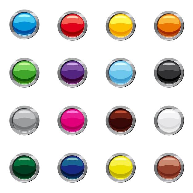 Ensemble d'icônes de boutons web rond blanc, style cartoon Vecteur Premium